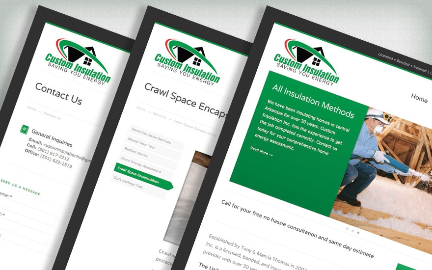 Custom Insulation website design preview