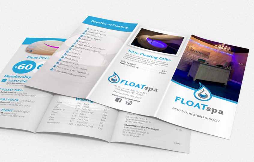 Float Spa tri-fold brochure